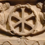 Detail of IX monogram on Constantinople sarcophagus, end of 3rd, early 4th century.
